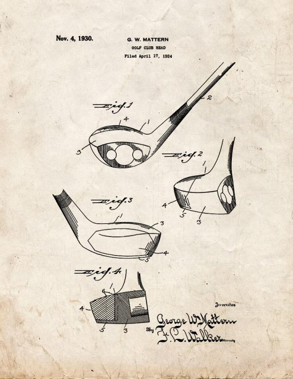 Golf Club Head Patent Print