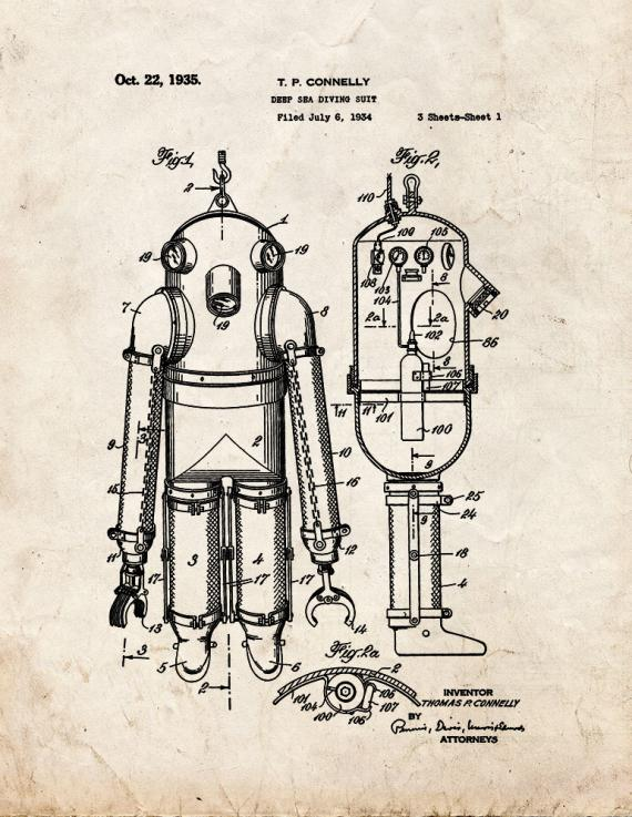 Deep Sea Diving Suit Patent Print