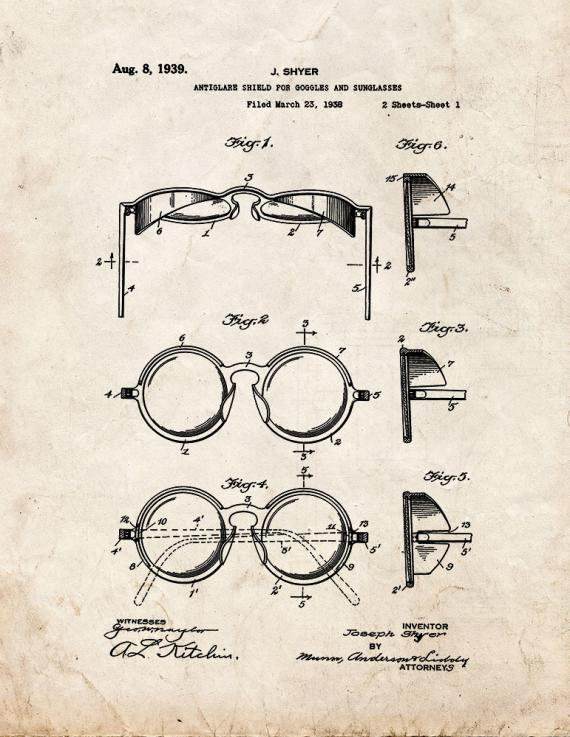 Antiglare Shield For Goggles And Sunglasses Patent Print