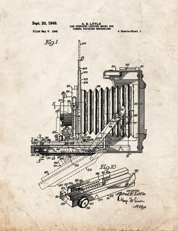 Cam Operated Locking Means For Camera Focusing Mechanisms Patent Print