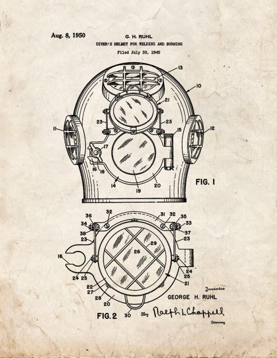 Diver's Helmet For Welding And Burning Patent Print