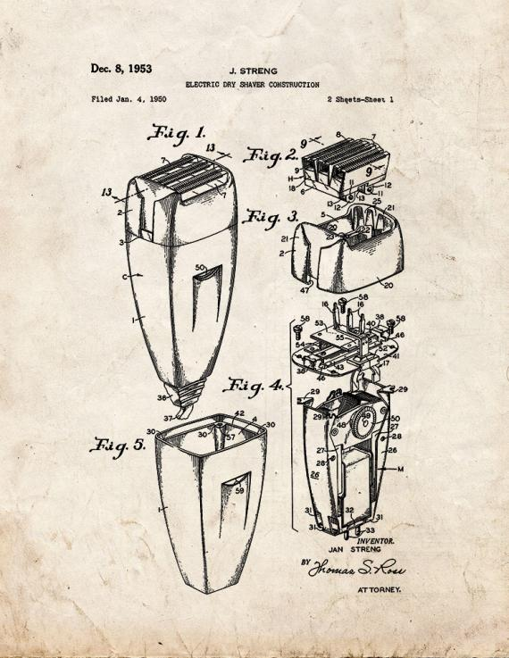 Electric Dry Shaver Construction Patent Print