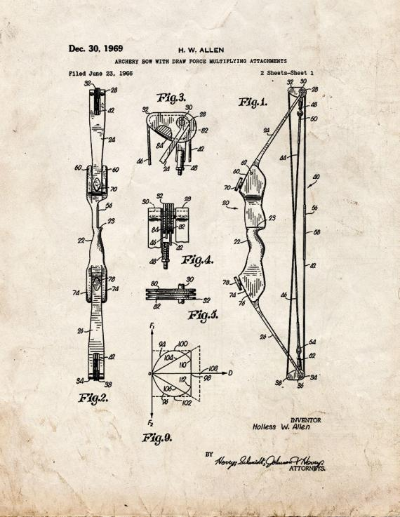 Archery Bow With Draw Force Multiplying Attachments Patent Print