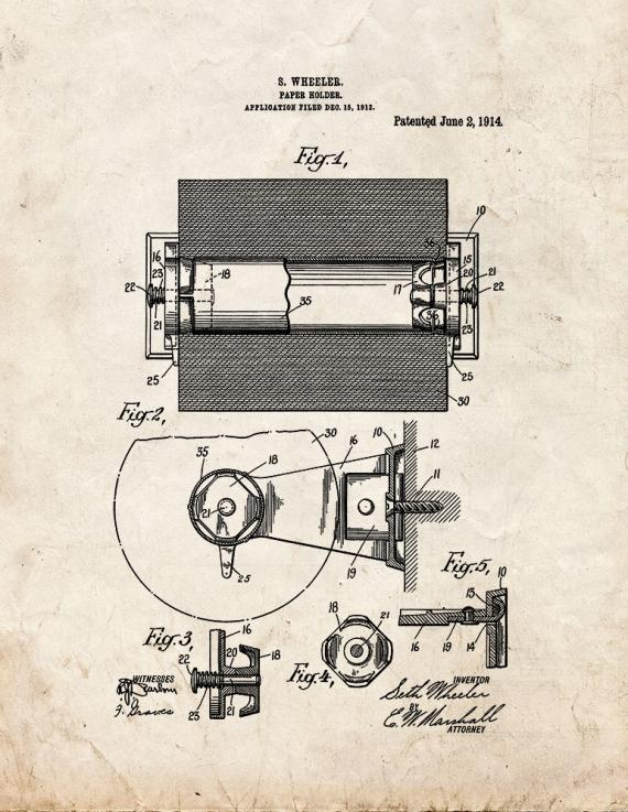 Toilet Paper Holder Patent Print