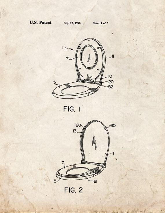 Combination Toilet Seat Patent Print