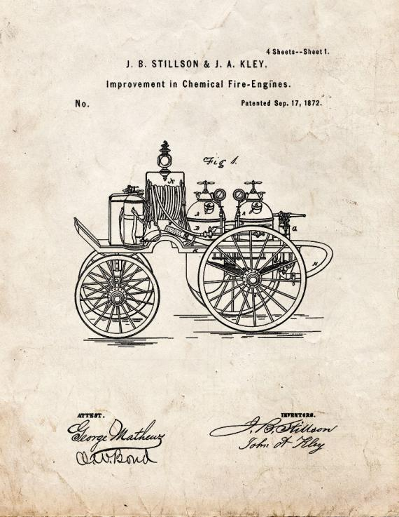 Chemical Fire-engine Patent Print