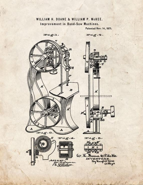 Bandsawing Machine Patent Print