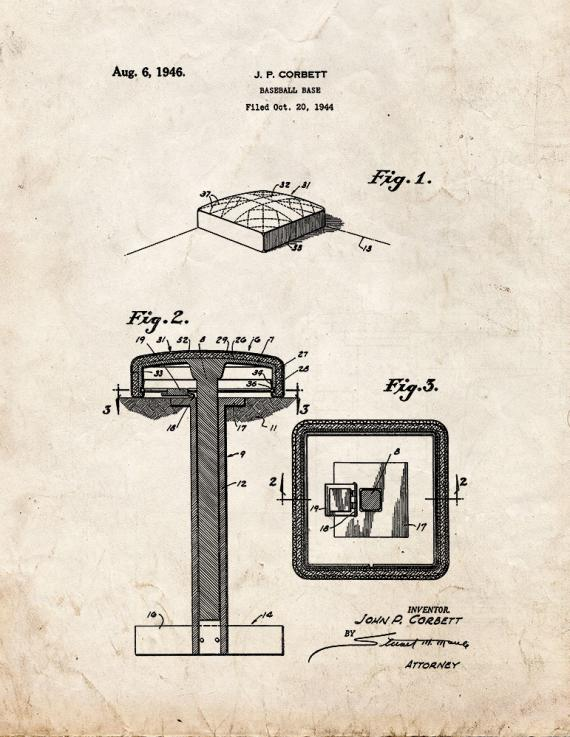 Baseball Base Patent Print