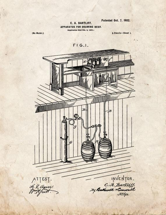 Apparatus for Drawing Beer Patent Print