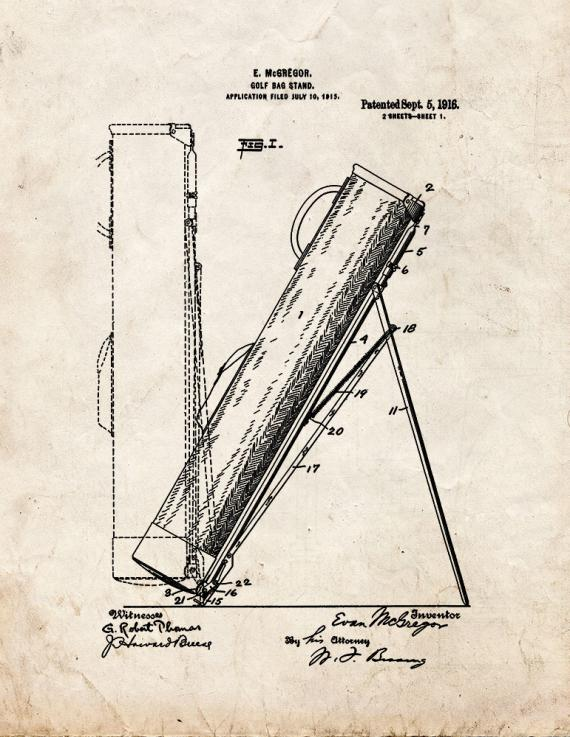 Golf Bag Stand Patent Print