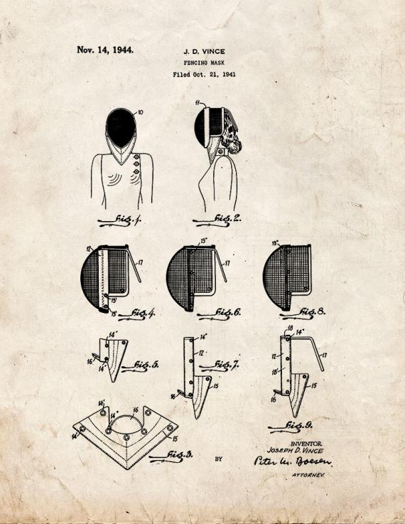 Fencing Mask Patent Print