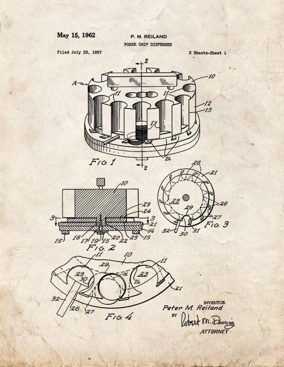 Poker Chip Dispenser Patent Print