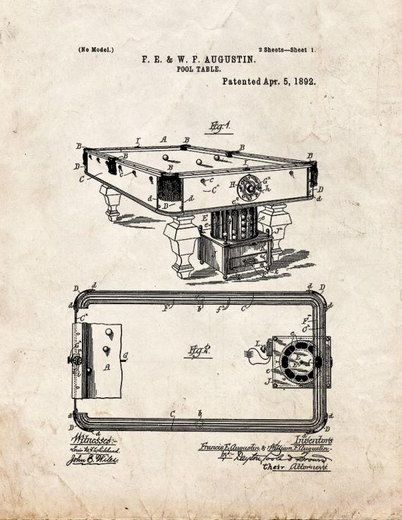 Pool Table Patent Print