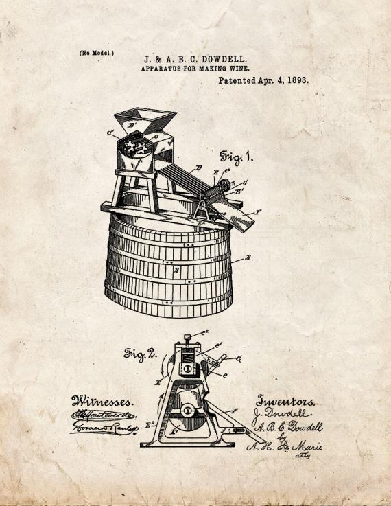 Apparatus For Making Wine Patent Print