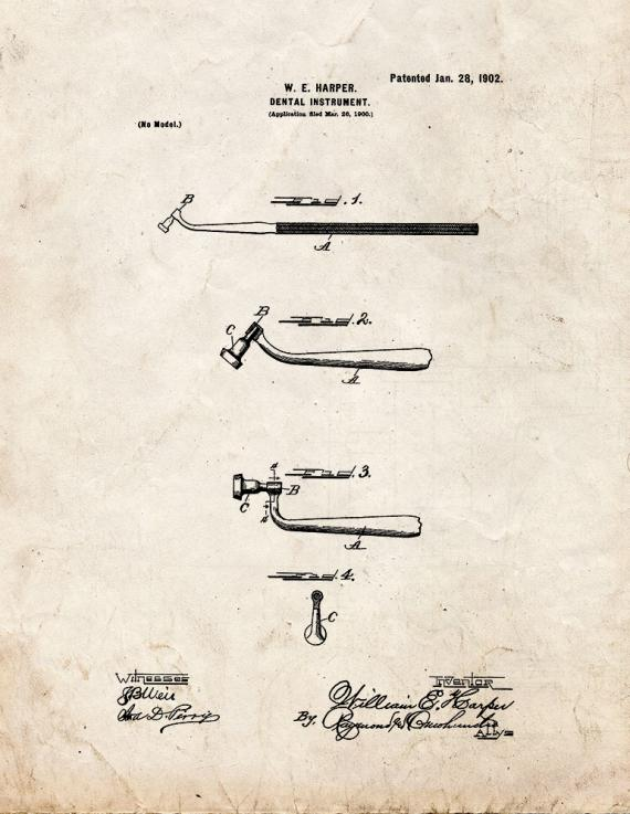 Dental Instrument Patent Print