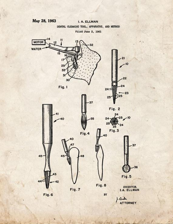 Dental Cleaning Tool Patent Print