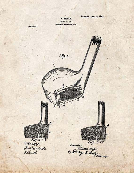 Golf Club Patent Print