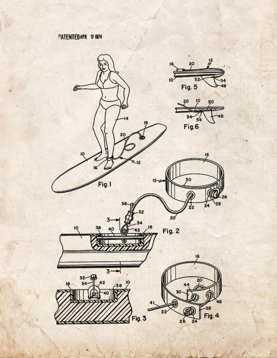 Surfboard Ankle Leash Patent Print