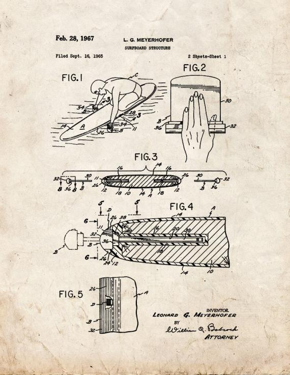 Surfboard Structure Patent Print