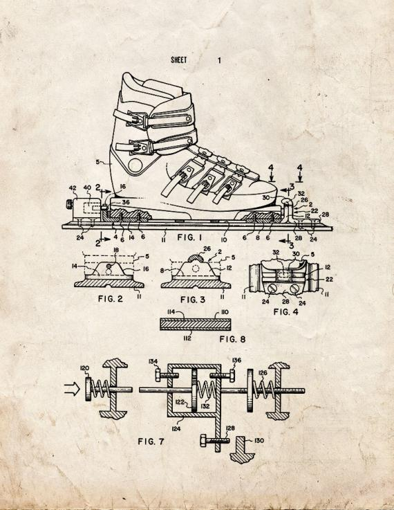 Releasable Ski Binding Device Patent Print