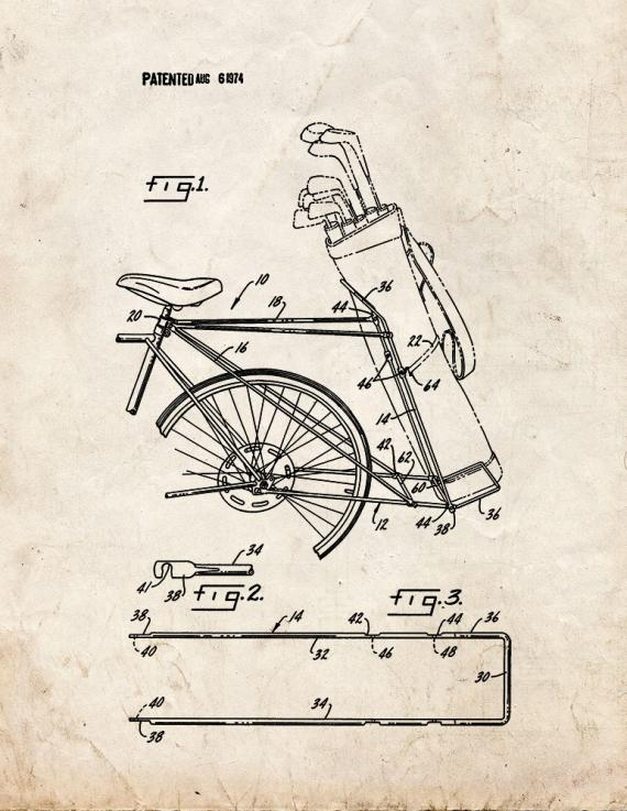 Golf Bag Bicycle Rack Patent Print