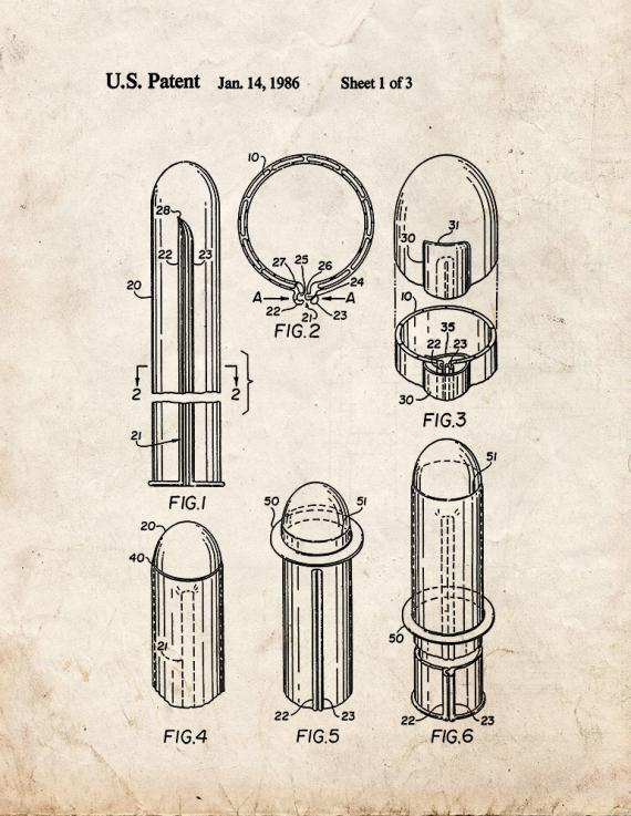 Reclosable Condom Patent Print