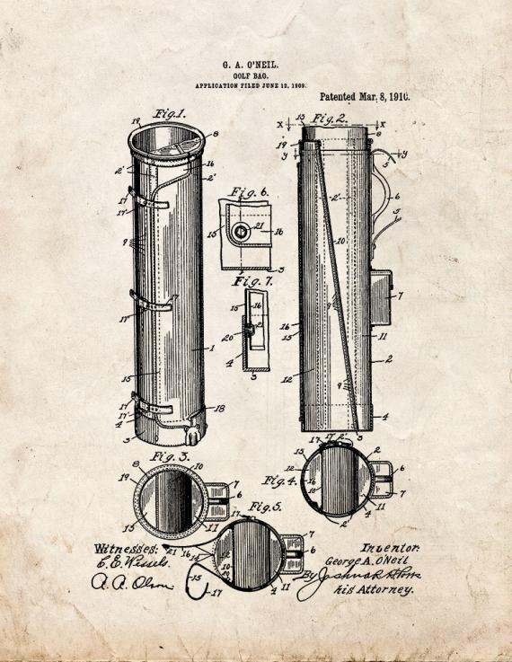 Golf Bag Patent Print