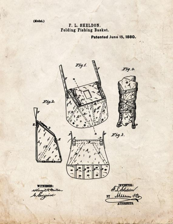 Folding Fishing Basket Patent Print