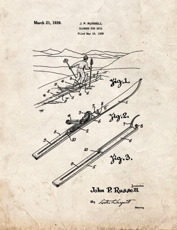 Climber for Skis Patent Print