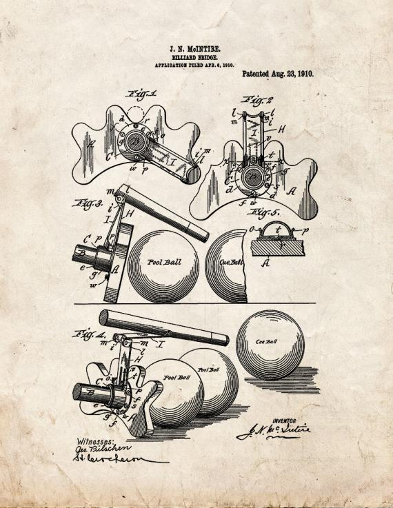 Billiard Bridge Patent Print