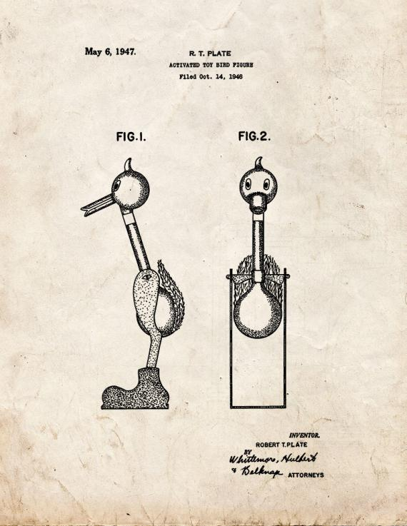 Activated Toy Bird Figure Patent Print