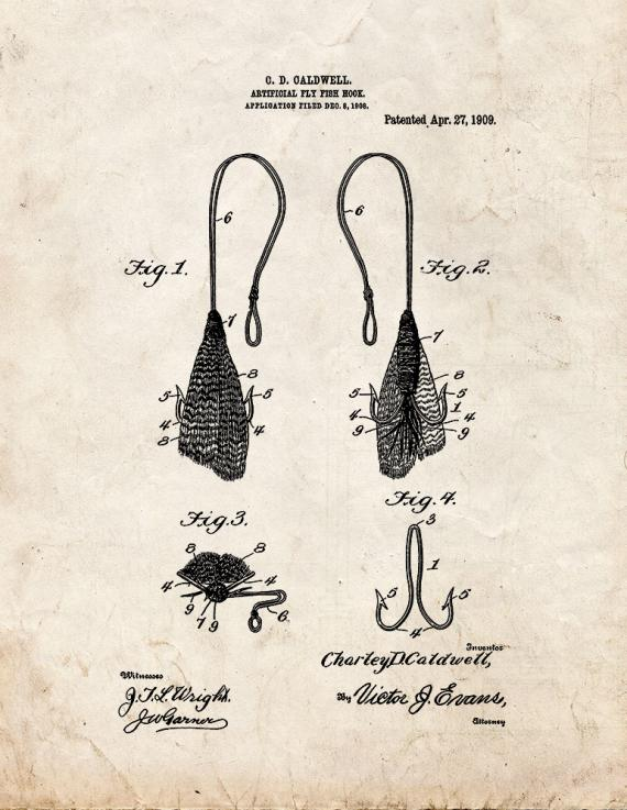 Artificial-fly Fish-hook Patent Print
