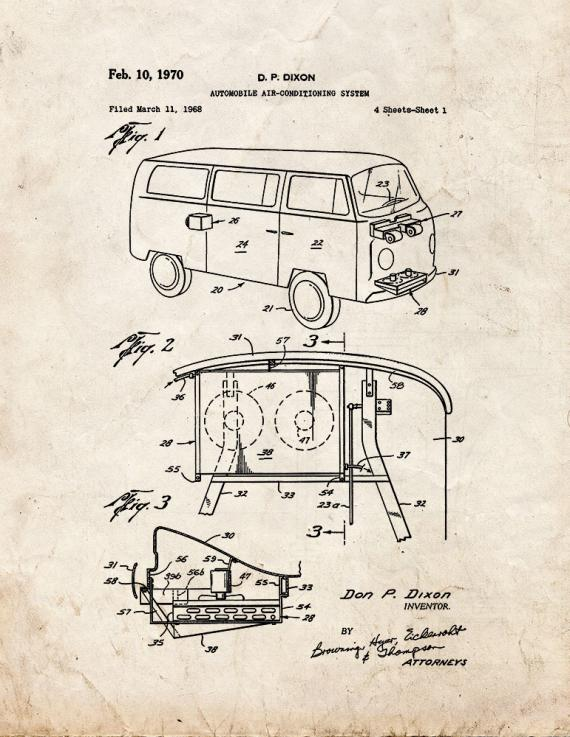Automobile Air-conditioning System Patent Print