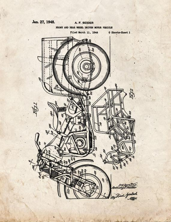 Front and Rear Wheel Driven Motor Vehicle Patent Print
