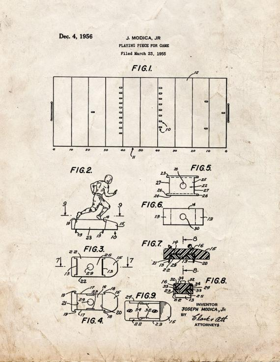 Playing Piece For Game Patent Print