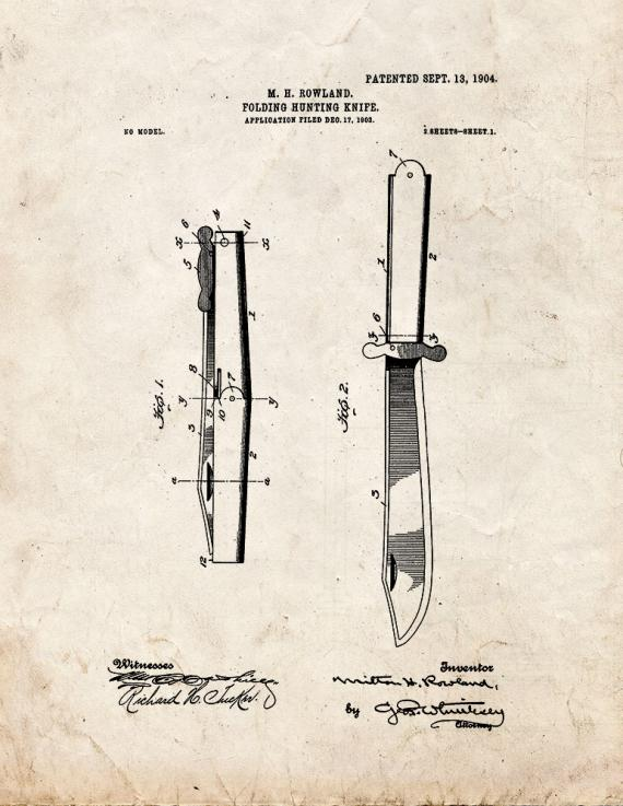 Folding Hunting Knife Patent Print