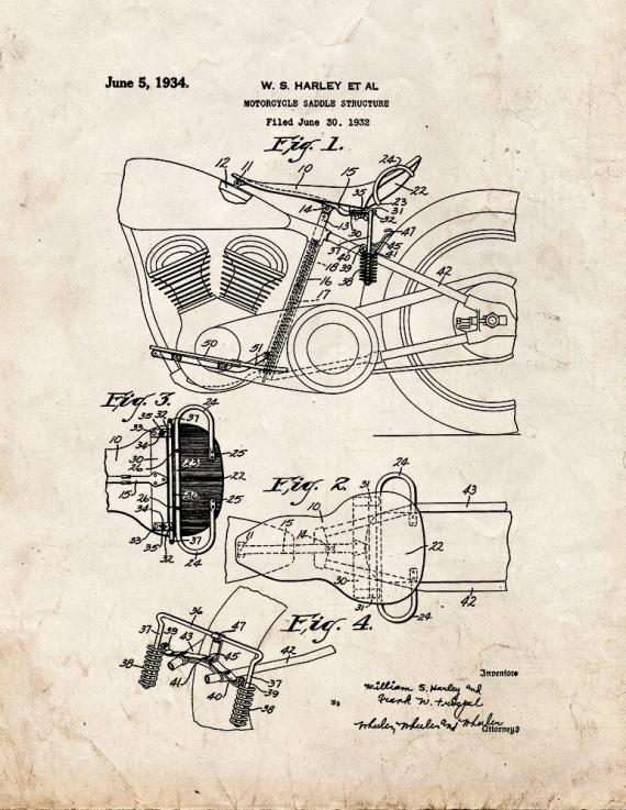 Harley Motorcycle Saddle Structure Patent Print