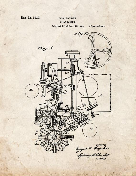 Cigar Machine Patent Print