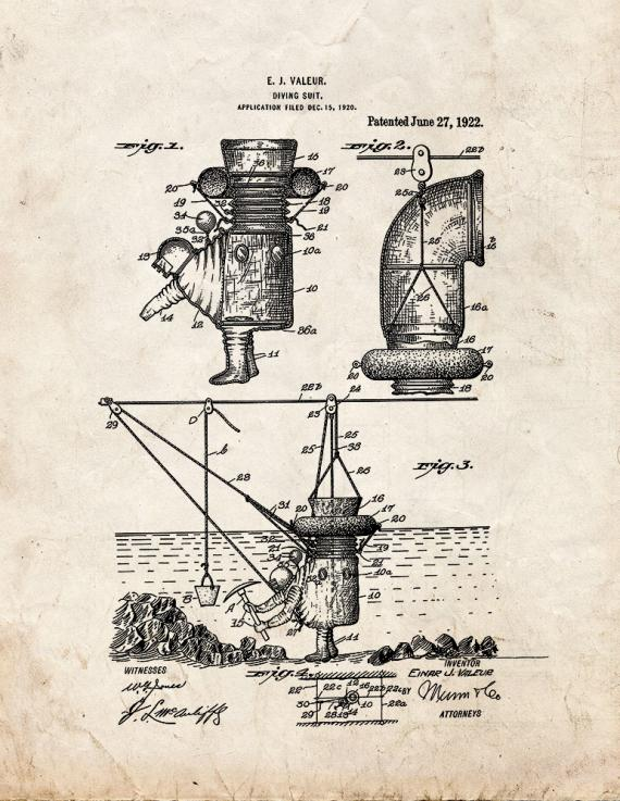 Diving Suit Patent Print