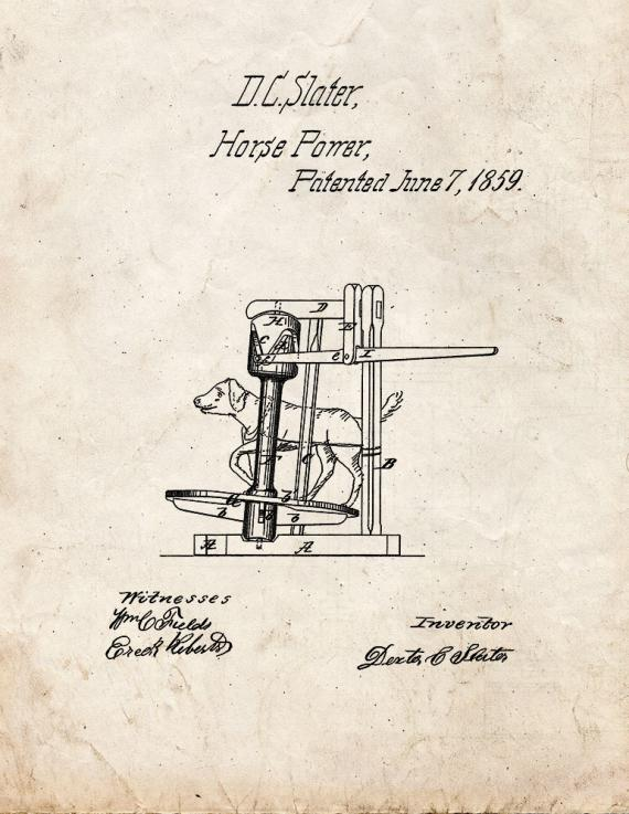 Operating Machinery By Dog-Power Patent Print