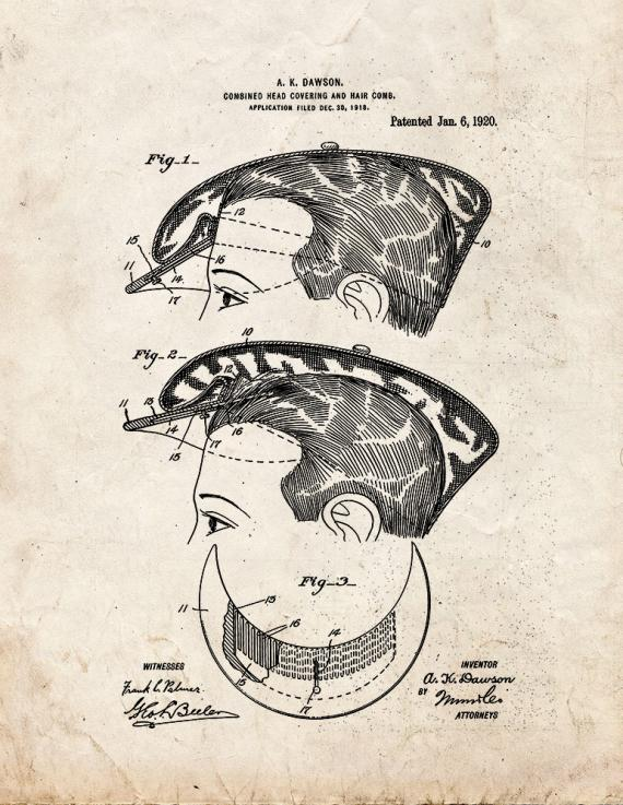 Combined Head-covering and Hair-comb Patent Print