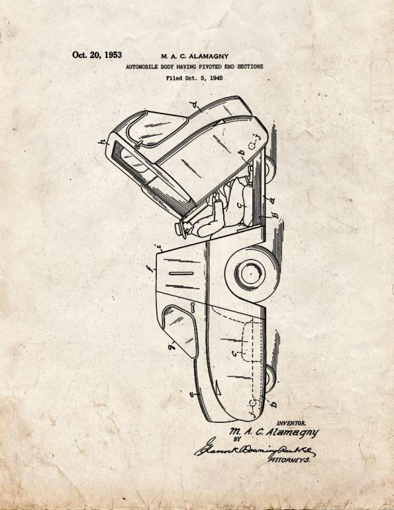 Automobile Body Having Pivoted End Sections Patent Print