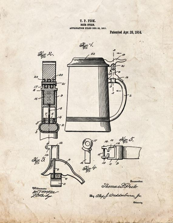 Beer Stein Patent Print