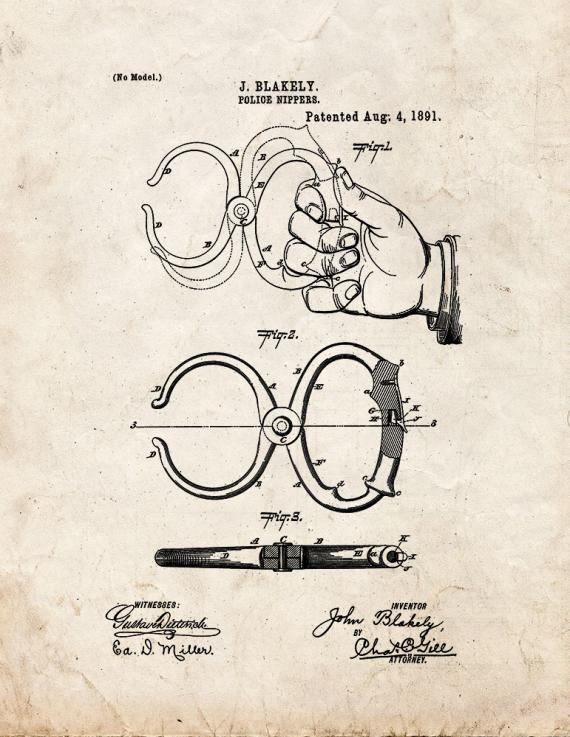 Police Nippers Patent Print