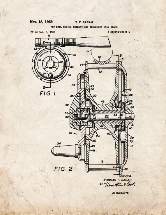 Fly Fishing Reel Patent Print