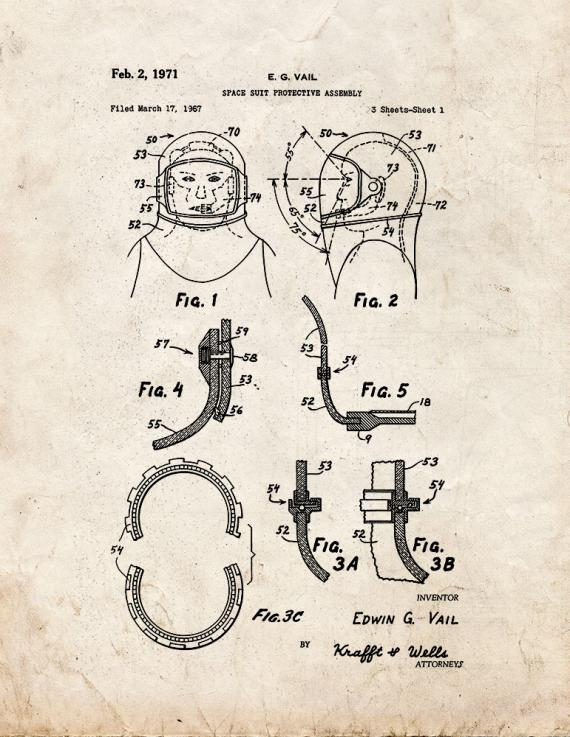 Space Suit Protective Assembly Patent Print