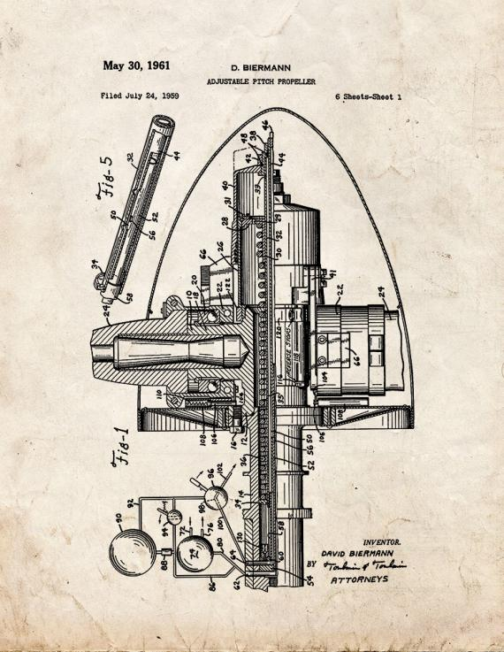 Adjustable Pitch Propeller Patent Print