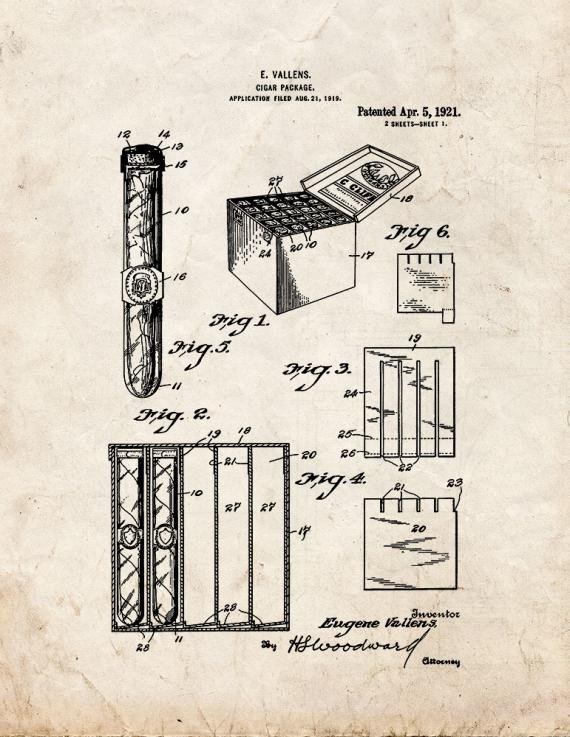 Cigar Package Patent Print