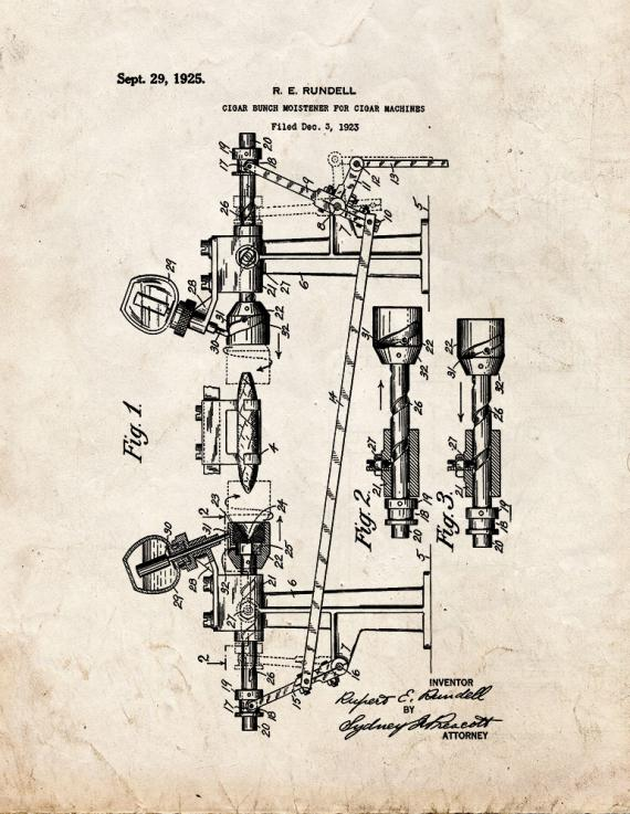 Cigar Bunch Moistener for Cigar Machines Patent Print