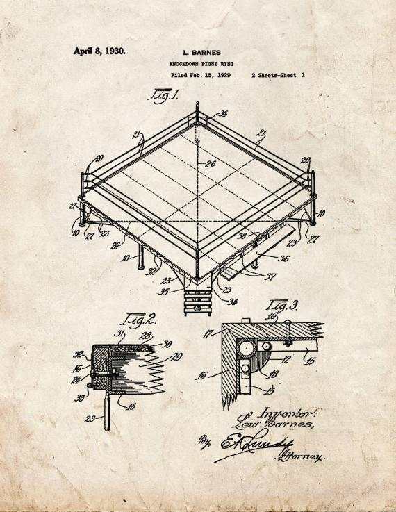Knockdown Fight Ring Patent Print